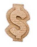 纸板美元的符号 库存图片
