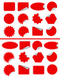 贴纸标号组。在白色隔绝的红色稠粘 免版税图库摄影