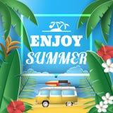 纸样式享用夏天与充满活力的色的热带植物的贺卡 图库摄影