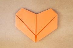 纸橙色心脏 库存图片
