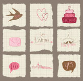 纸爱和婚礼设计要素 免版税库存图片