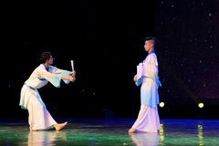 纸爱好者学者2中国民间舞 库存照片