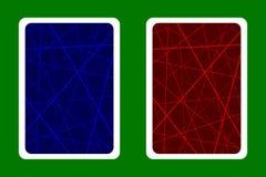 纸牌后面设计-任意混乱线提取几何样式-蓝色和红色 皇族释放例证