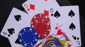 纸牌游戏手和筹码 股票录像