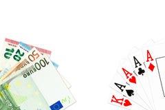 纸牌游戏手四张相同的牌在一点和一些欧洲钞票 向量例证