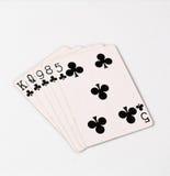 纸牌游戏手等级符号集纸牌在赌博娱乐场:冲洗在白色背景,运气摘要 免版税库存图片