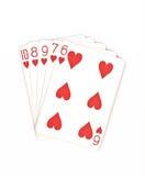 纸牌游戏手等级符号集纸牌在赌博娱乐场:在白色背景,运气摘要的同花顺, 图库摄影