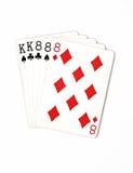 纸牌游戏手等级符号集纸牌在赌博娱乐场:白色背景的,运气摘要三张相同和二张相同的牌 库存图片