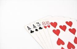 纸牌游戏手等级,符号集纸牌在赌博娱乐场:一个对,一点,两,三,八在白色背景,运气摘要, horiz 图库摄影