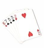 纸牌游戏手等级,符号集纸牌在赌博娱乐场:hight手,七国王,五,三,两在白色背景,运气abstra 免版税库存图片