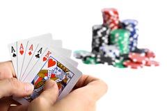 纸牌游戏手 库存图片