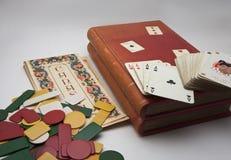 纸牌游戏箱子卡片 免版税库存图片