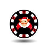纸牌筹码圣诞节新年 在容易地分离的白色背景的象EPS 10例证 网站的用途,设计, 皇族释放例证