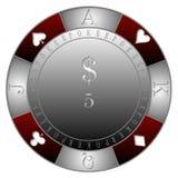 纸牌筹码5$赌博娱乐场` 皇族释放例证