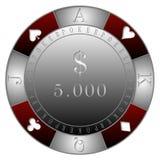 纸牌筹码5 000$赌博娱乐场` 库存照片