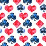 纸牌衣服的水彩手拉的无缝的样式 向量例证