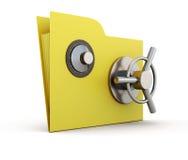 纸的文件夹与在白色背景的安全锁 免版税库存照片