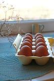 纸盒在画象的frech鸡蛋 库存图片