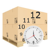 纸盖了在木板台的箱子 手表与 库存图片