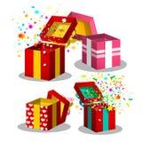 纸礼物盒集合 开放当前箱子标志 免版税库存照片