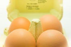 箱4个鸡蛋 免版税库存图片