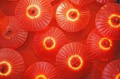 纸红色伞 免版税库存照片