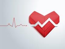 纸红色心脏和脉冲 库存图片