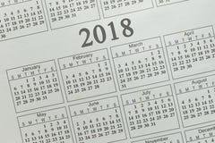 纸背景日历2018年 免版税库存图片