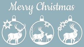 纸艺术例证 圣诞节和新年秀丽  有鹿 Serigraphy 库存例证