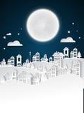 纸艺术冬天雪都市乡下风景城市村庄 免版税库存照片
