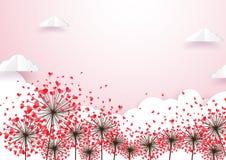 纸艺术心脏形状开花有云彩背景 库存图片