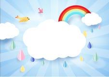 纸艺术概念 与彩虹的多雨和云彩 免版税库存照片