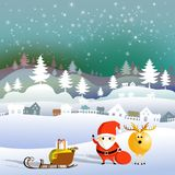 纸艺术雪花和圣诞老人与马勒鹿 皇族释放例证