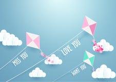 纸艺术飞行风筝和云彩在蓝天 图库摄影