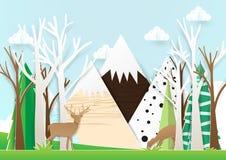 纸艺术鹿在森林里有山背景 免版税库存图片