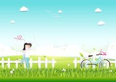 纸艺术,加上在庭院浪漫爱概念的自行车 免版税图库摄影