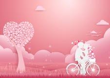 纸艺术,在自行车概念浪漫爱的夫妇 免版税库存照片