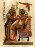 纸莎草绘画法老王和女王/王后 免版税库存照片