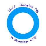 纸蓝色圈子在白色背景,世界糖尿病天的标志的 库存图片