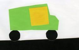 纸补花汽车的孩子 免版税库存照片