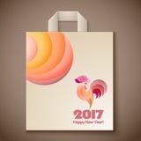 年纸袋的雄鸡设计 免版税库存照片