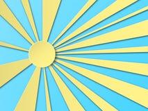 纸被切开的太阳 海报的,邀请,名片,横幅,广告层状设计 ?? 库存例证