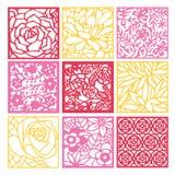 纸被削减的剪影花卉回纹装饰格子背景集合 皇族释放例证
