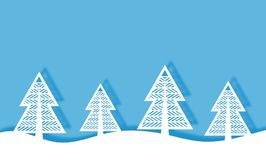 纸裁减冬天风景背景树 皇族释放例证