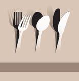 纸裁减叉子、匙子和刀子 库存照片