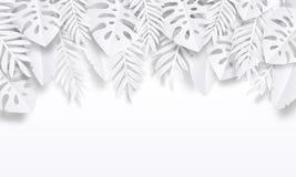 纸裁减热带背景 与异乎寻常的叶子的夏天时髦海报,暑假背景 传染媒介自然墙纸 向量例证