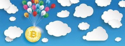 纸覆盖镶边蓝天气球Bitcoin倒栽跳水 库存图片