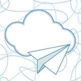 纸飞机和云彩传染媒介背景 免版税库存照片