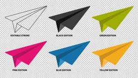 纸飞机集合-编辑可能的冲程和不同颜色编辑-在透明背景-隔绝的传染媒介例证 库存例证