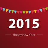 纸2015年新年快乐有红色背景 库存图片